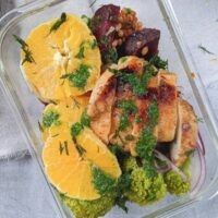 chicken with broccoli and farro salad