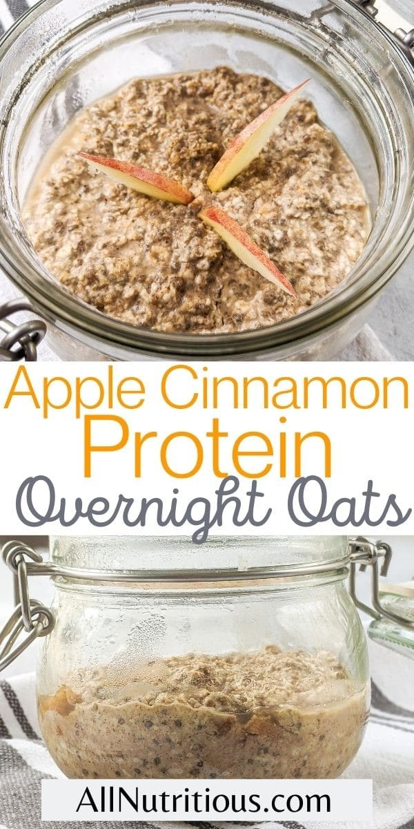 high protein overnight oats with apples and cinnamon pinterest