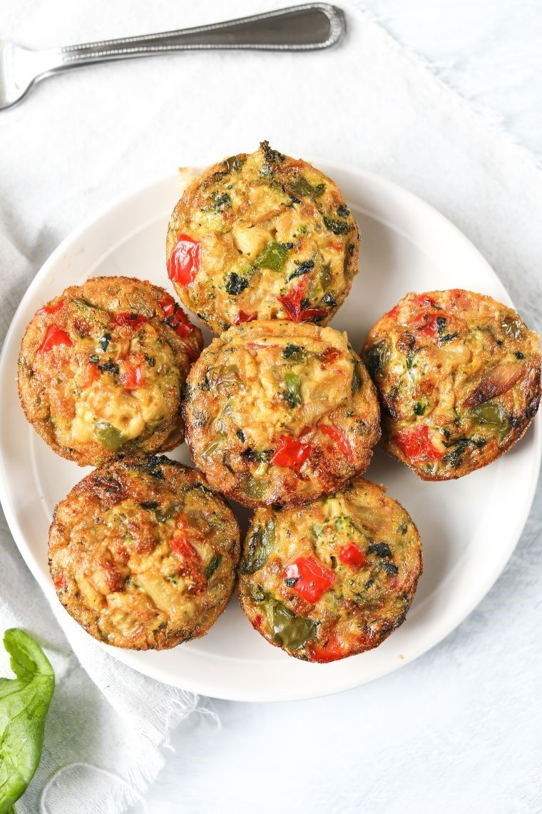 plate of egg muffins with veggies