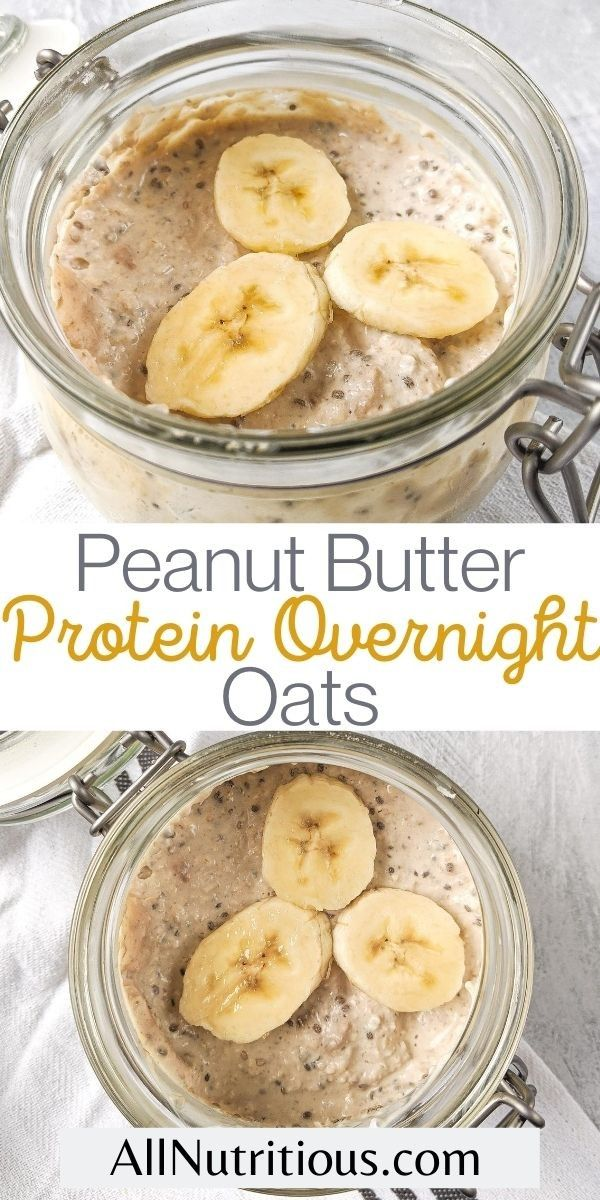 protein overnight oats with peanut butter pin