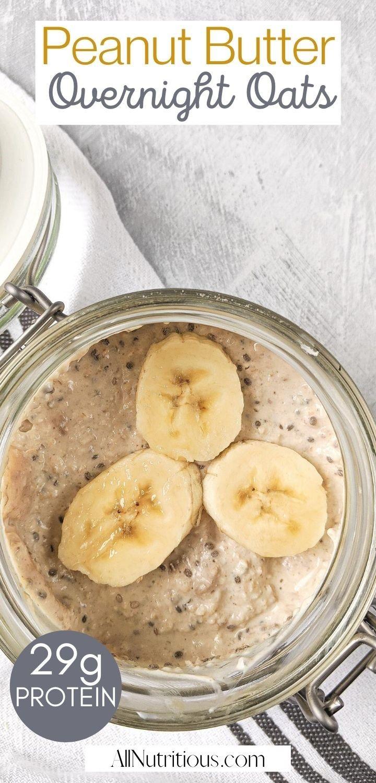 peanut butter banana overnight oats pin