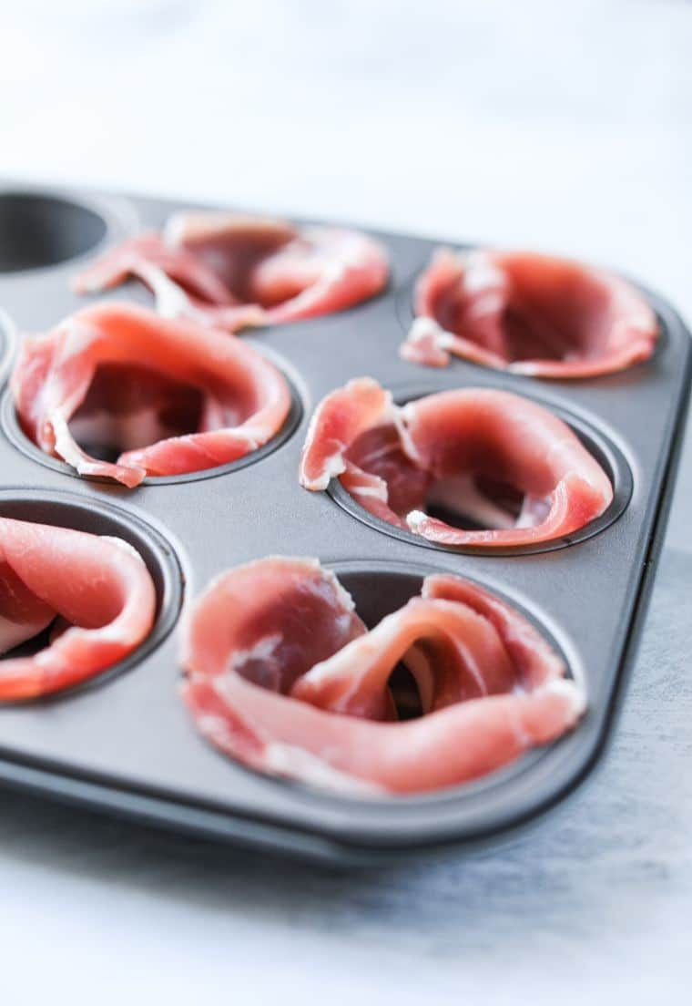 bacon strips in muffin tin