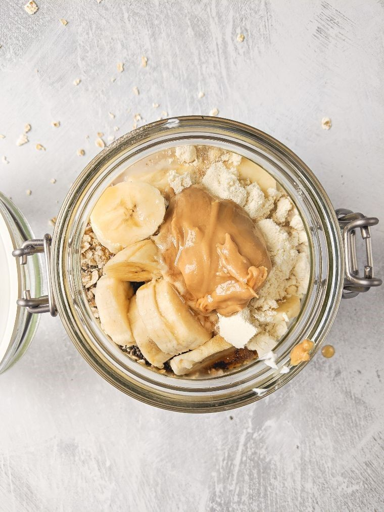 overnight oats ingredients in a glass jar