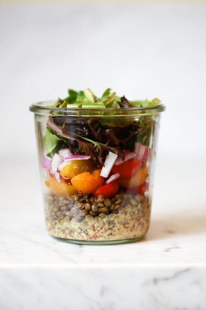 French Lentil Mason Jar Salads
