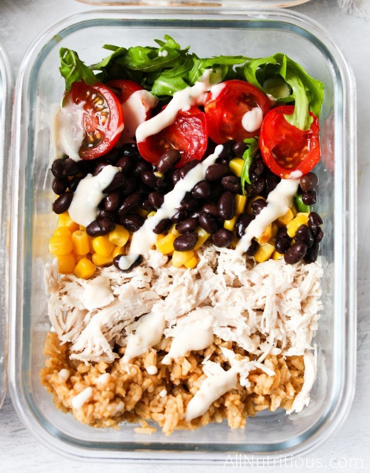 burrito bowls topped with ranch sauce