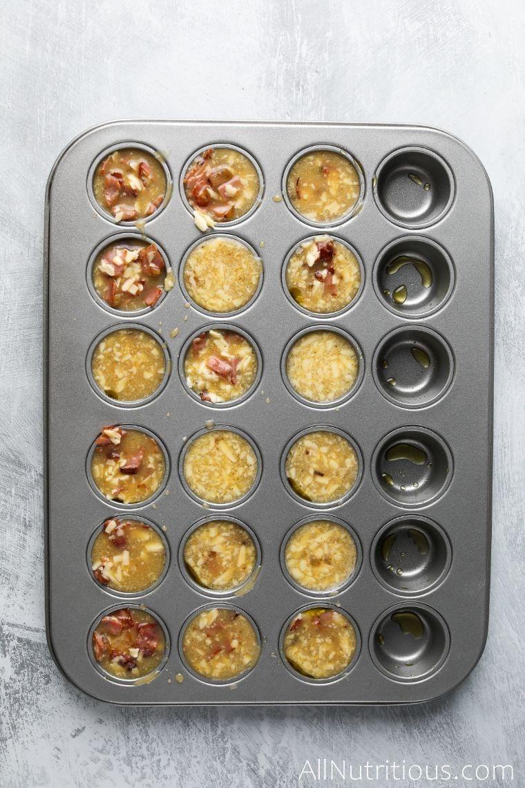 mixture in mini muffin tin