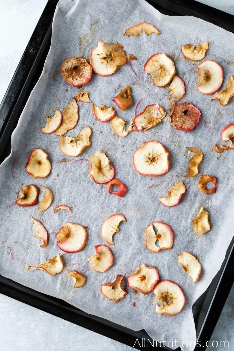 apples baking on sheet pan