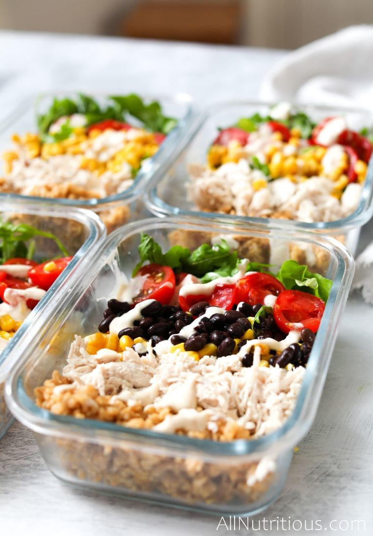 close up burrito meal prep containers