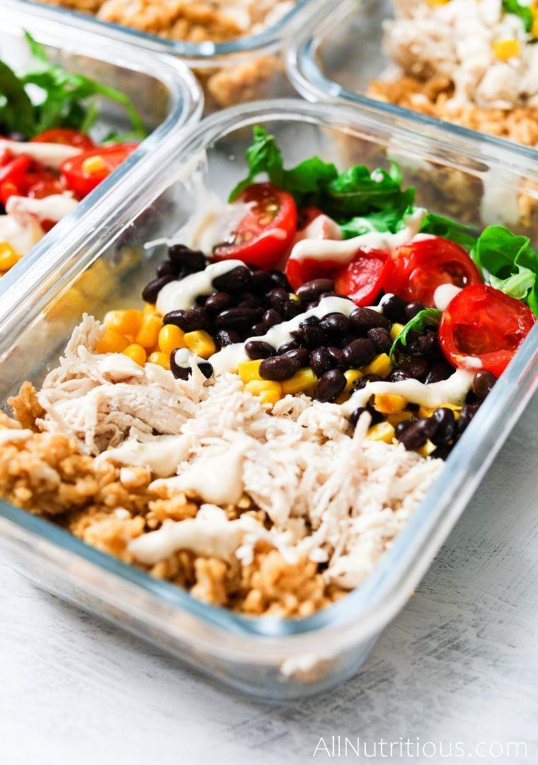 close up burrito bowls container