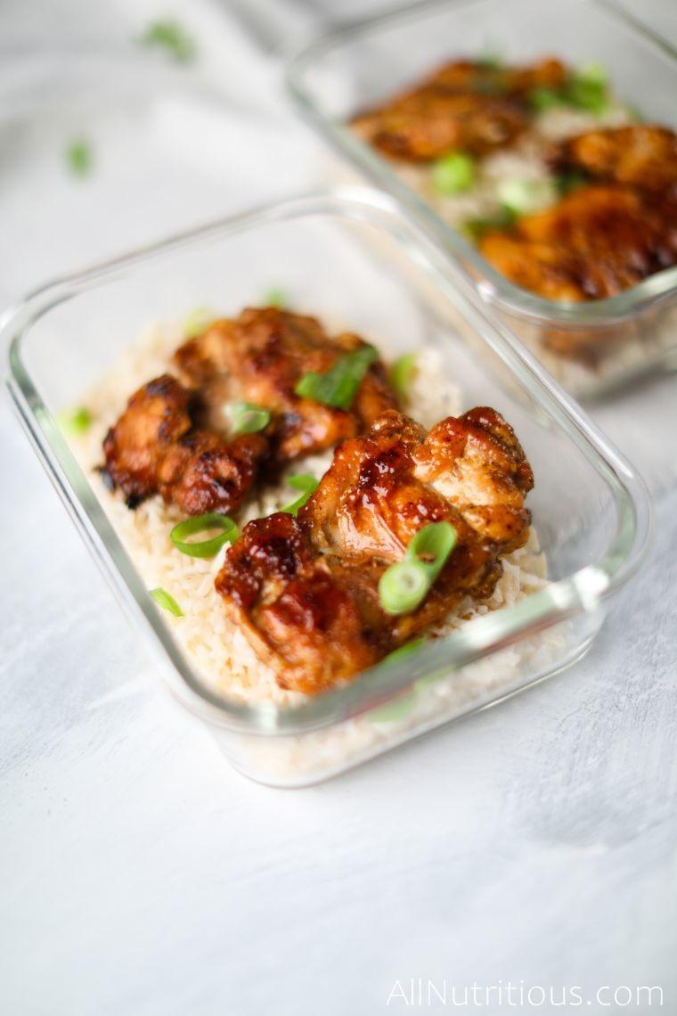 close up chicken with honey garlic sauce