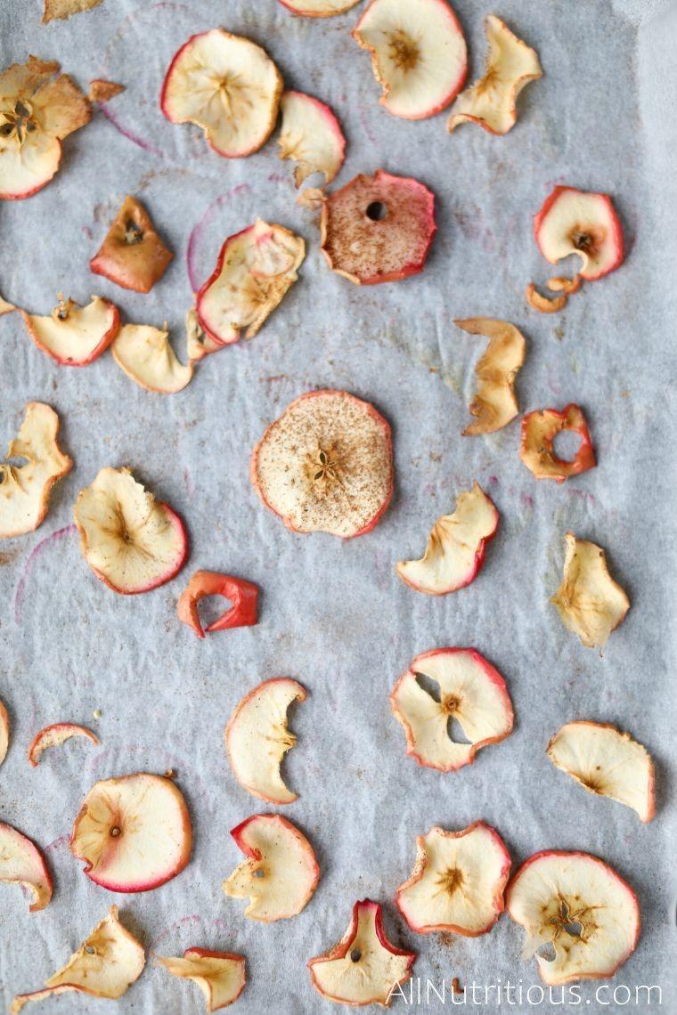 sheet pan of apple chips