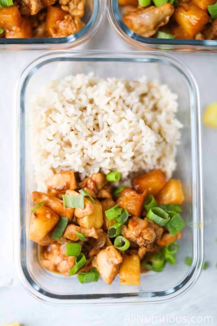 close up meal prep spicy chicken with pineapple