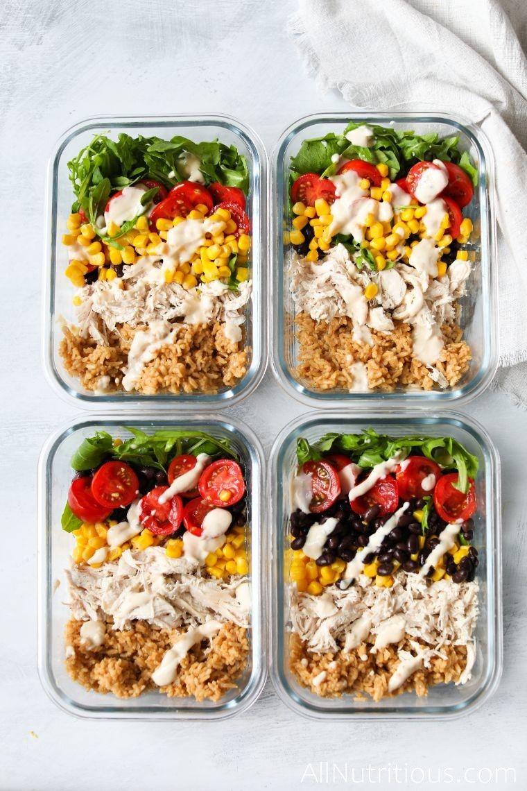 healthy burrito meal preps overhead picture