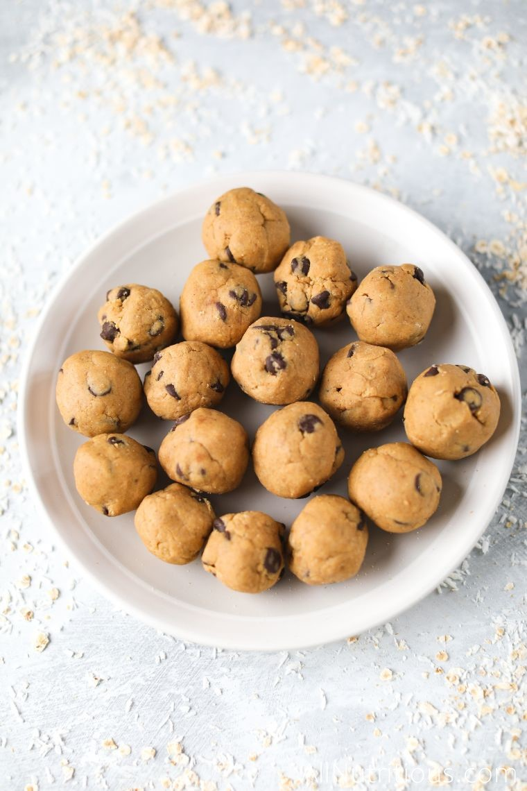 plate of cookie dough balls