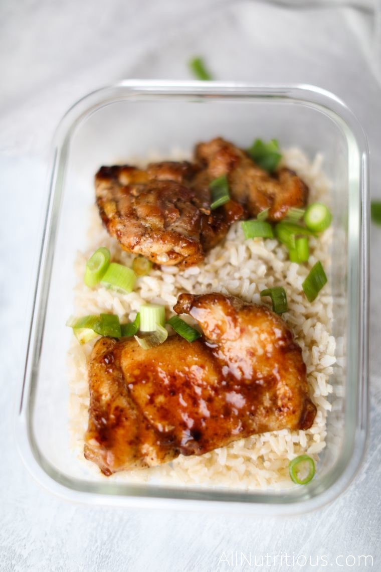 chicken and green onions on rice