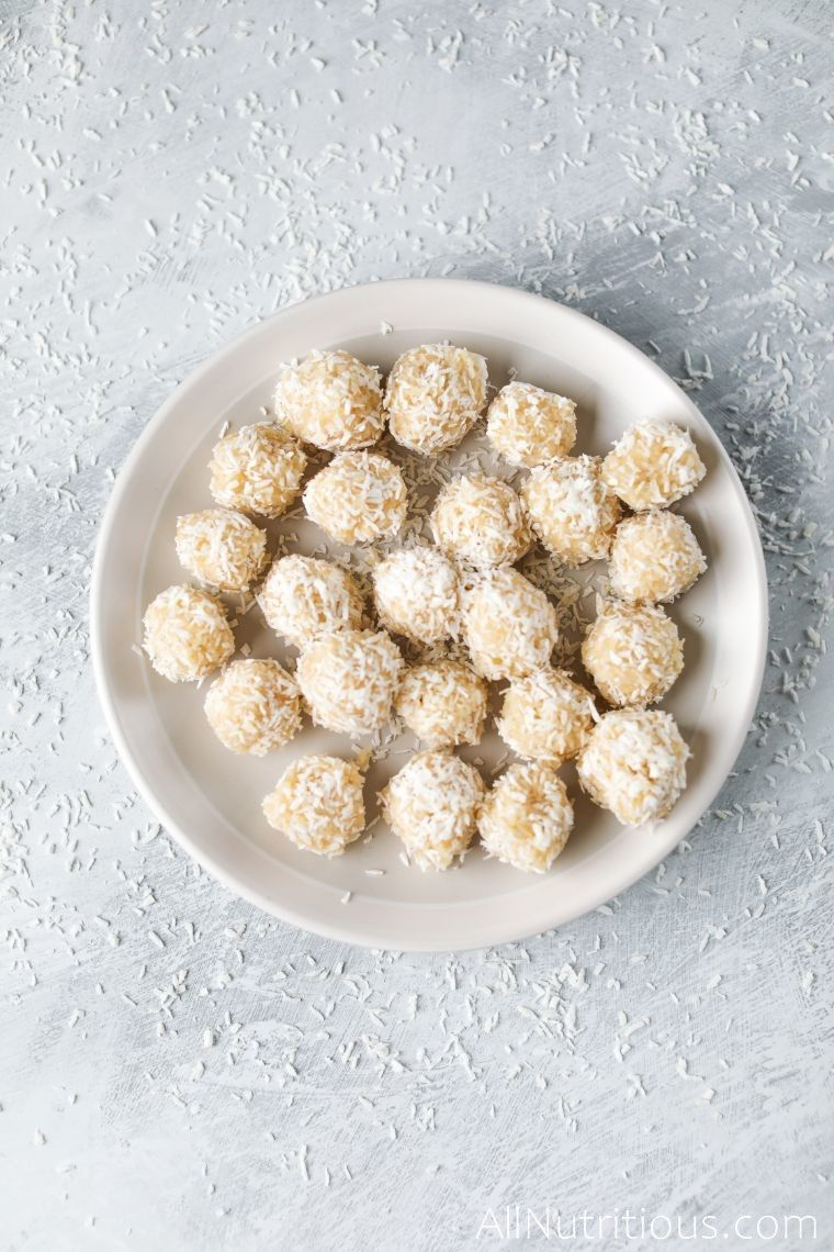 coconut protein balls on plate