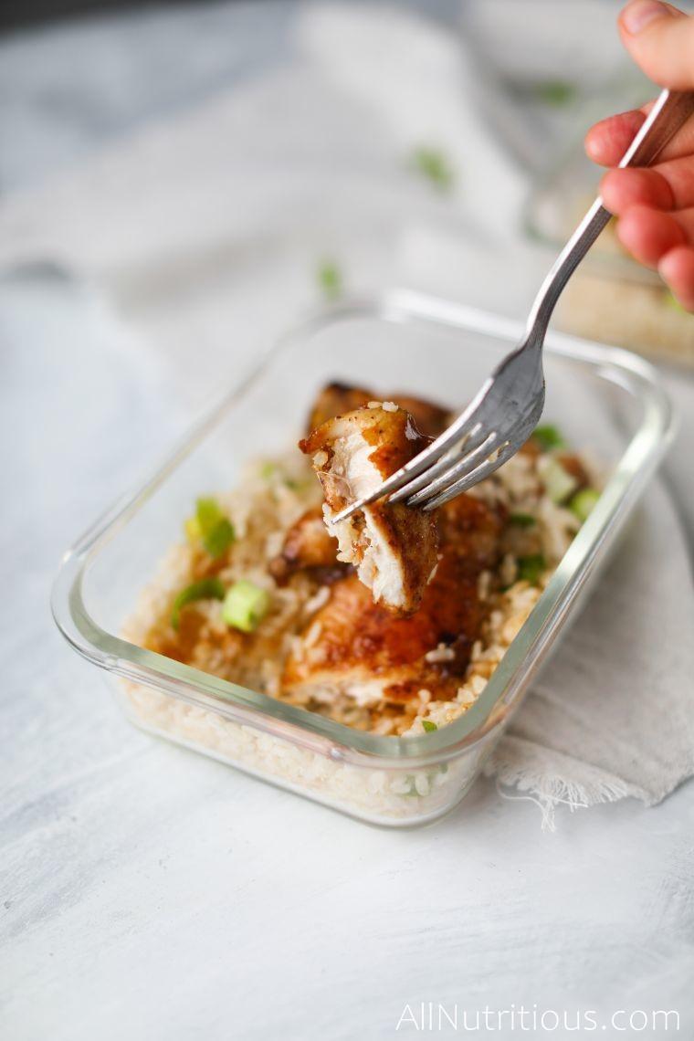 sliced honey garlic chicken on fork