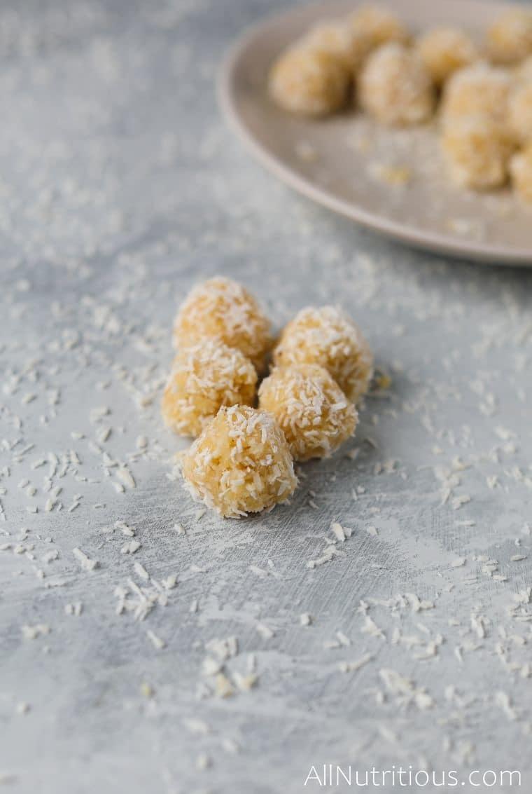 shredded coconut protein balls