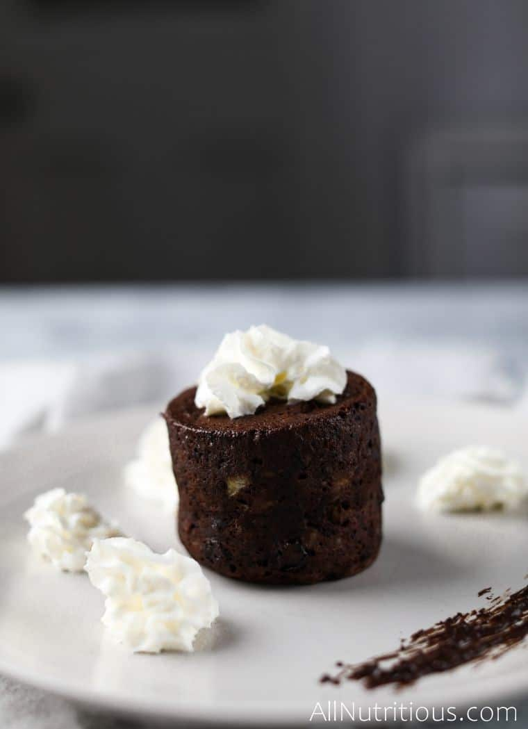 high protein chocolate cake with whipped cream