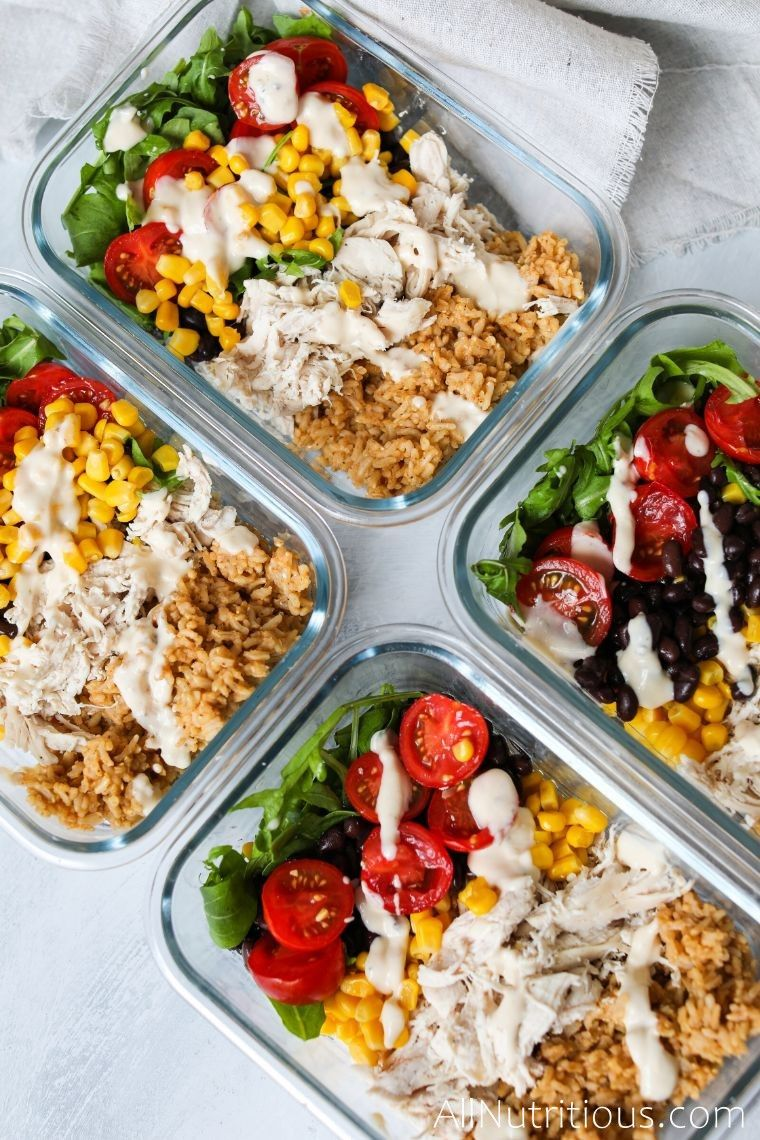 meal prep bowls with burrito ingredients