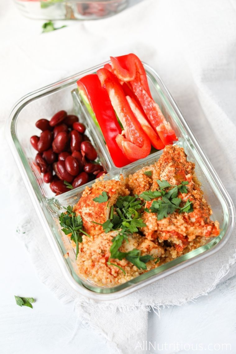 glass meal prep container with chicken