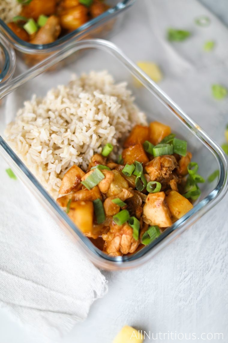 meal prep container with pineapple chicken
