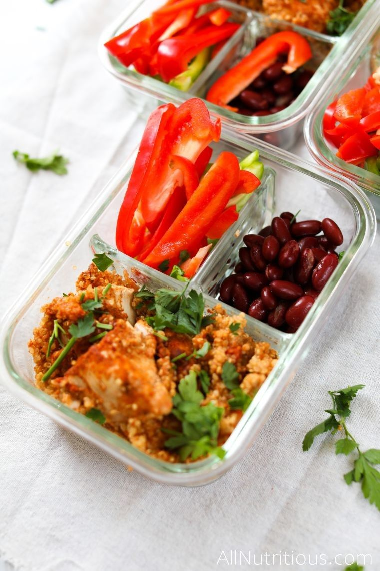 high protein spicy quinoa with sliced peppers and beans
