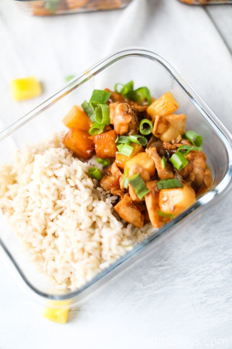 meal prep chicken with pineapple and rice