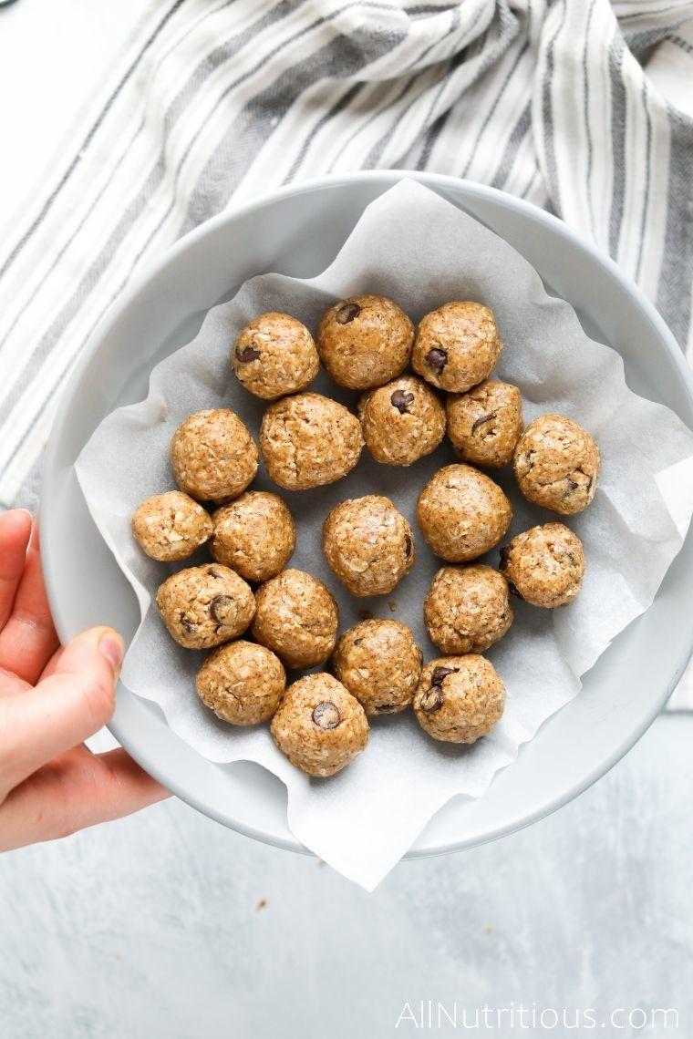 bowl of almond butter balls