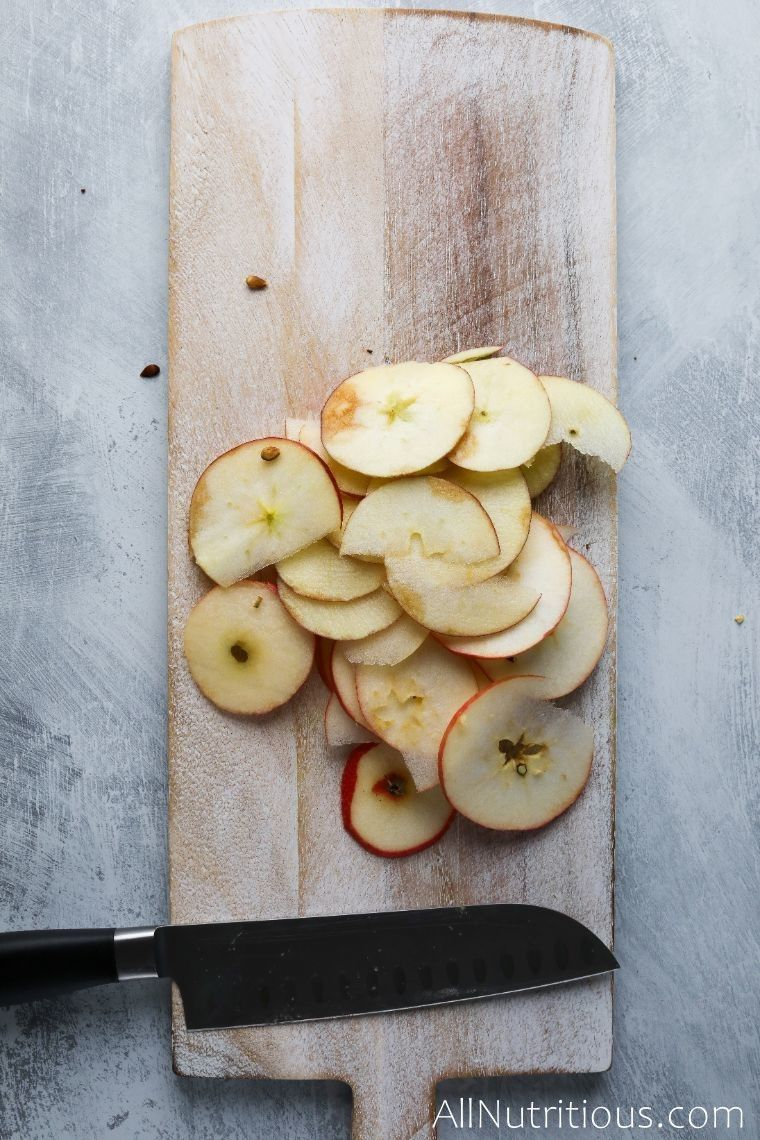 cutting board with apple slices