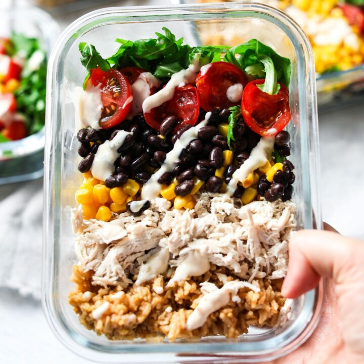 chicken burrito meal prep bowls