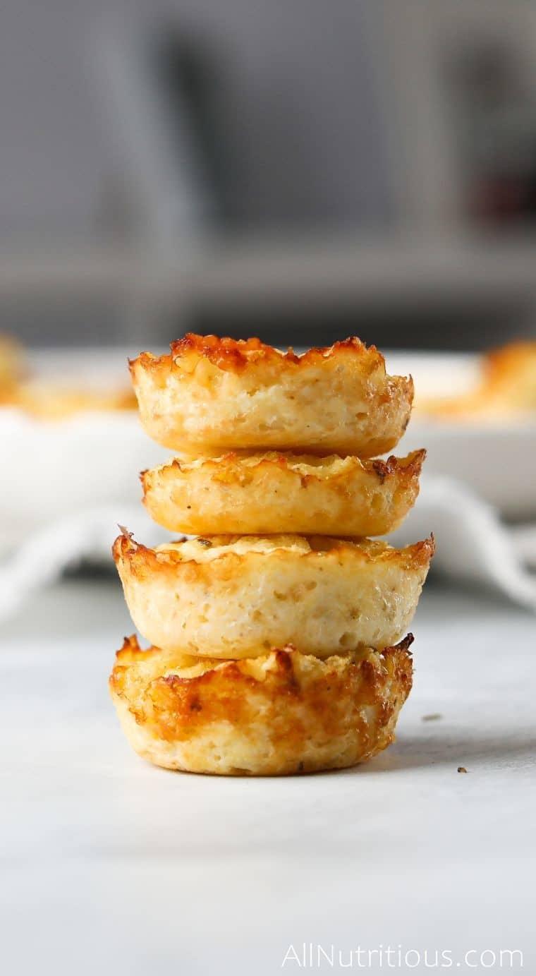 cheesy cauliflower bites stacked
