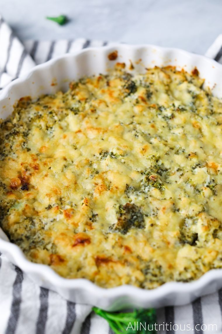 keto broccoli casserole upclose shot