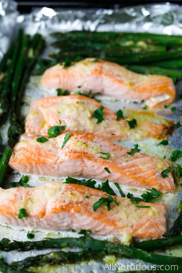 salmon on a baking sheet