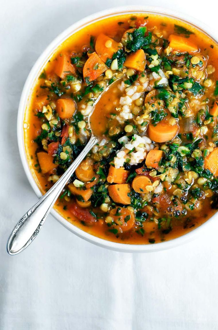 Carrot, Red Lentil and Spinach Soup