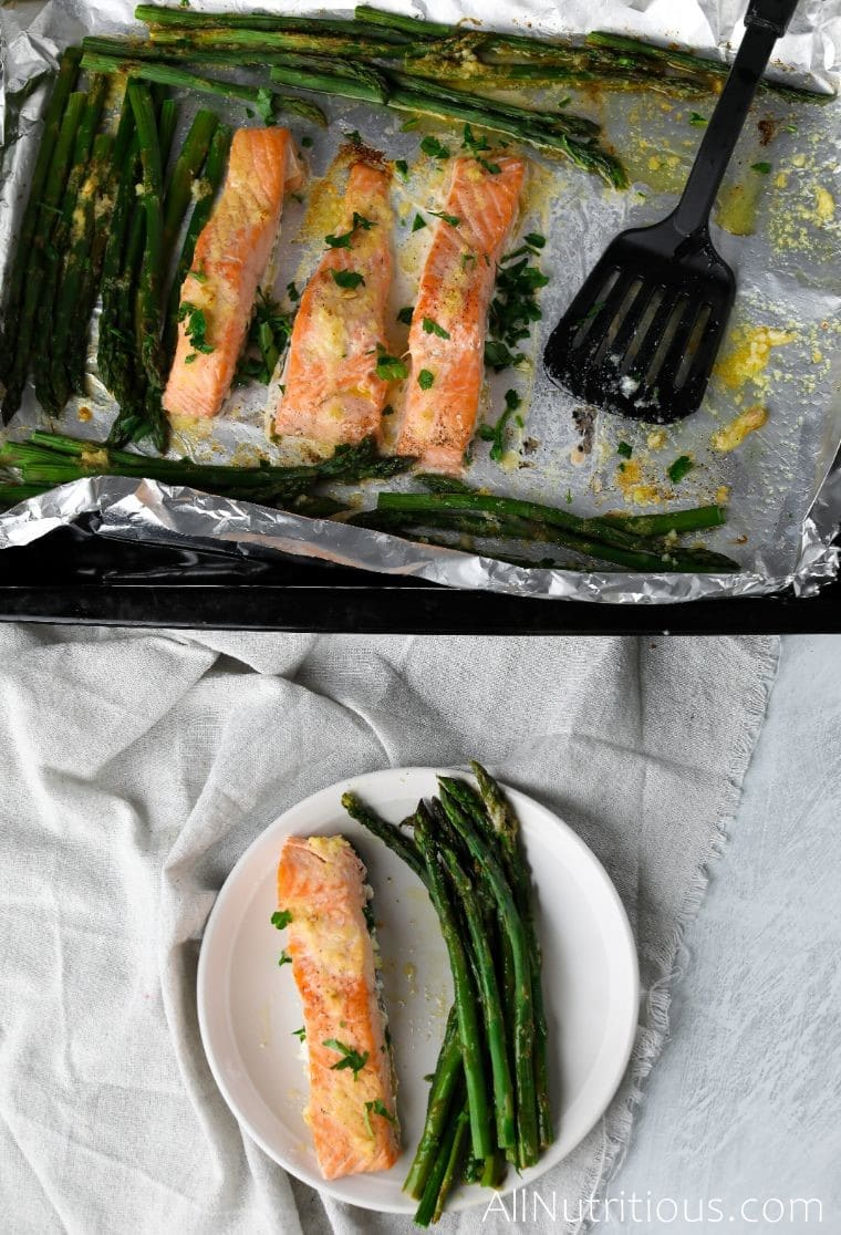 overhead shot of keto salmon with asparagus
