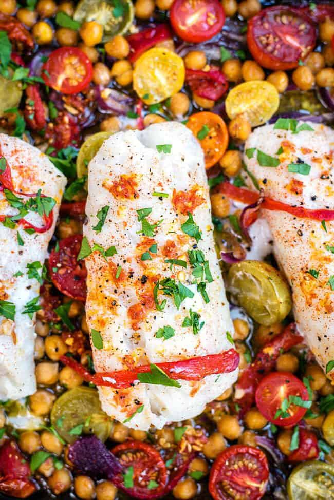 Cod With Chorizo and Chickpeas