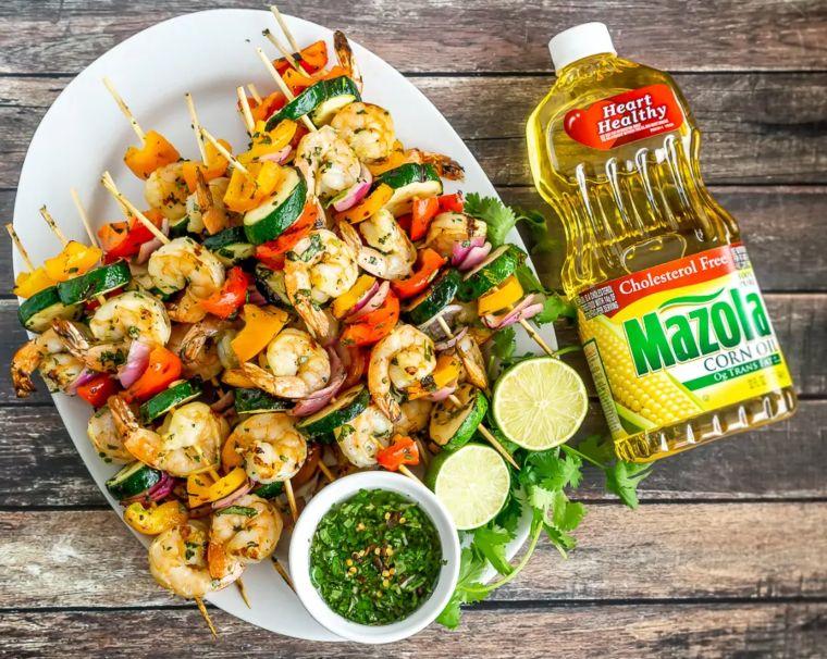 Shrimp, Vegetable Skewers, Chimichurri Sauce