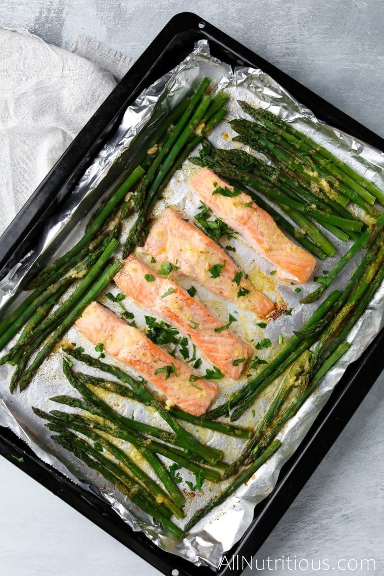 sheet pan salmon with asparagus overhead shot