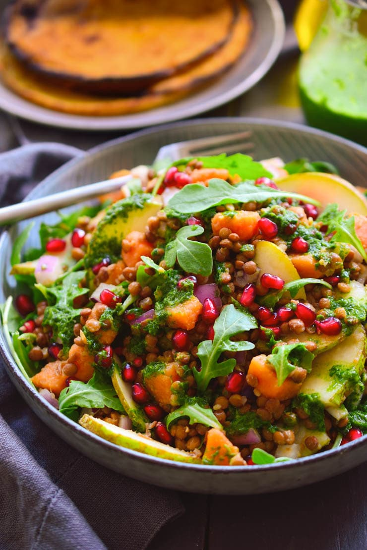 Lentil Salad With Chickpea Pancakes