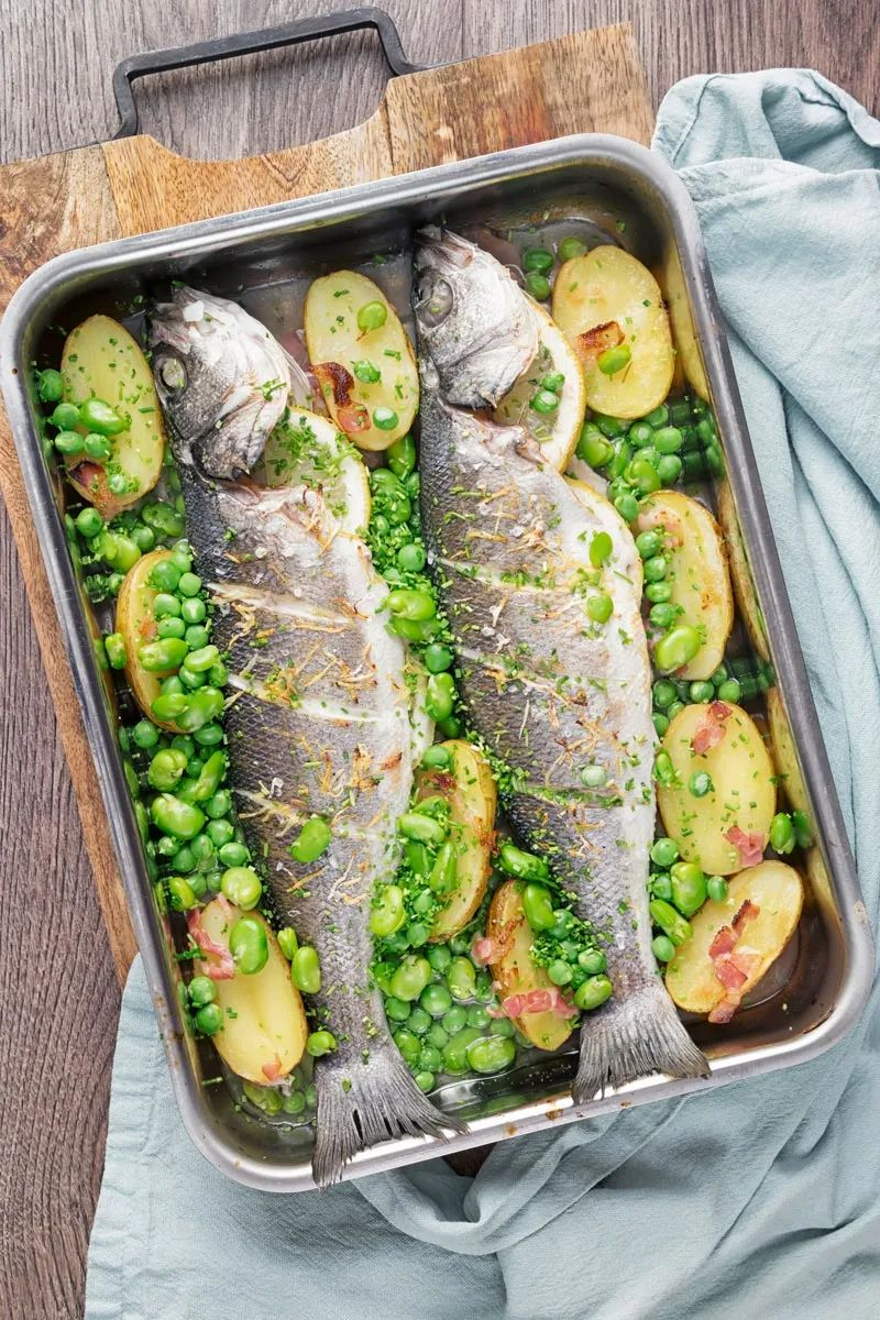 Whole Baked Sea Bass With Potatoes and beans