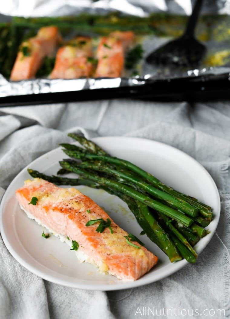 upclose salmon on a plate