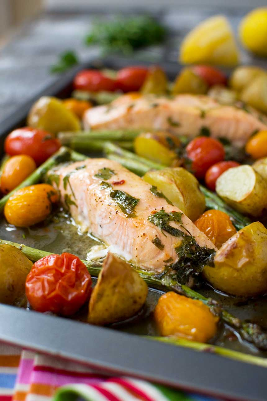 Lemon Butter Salmon with potatoes