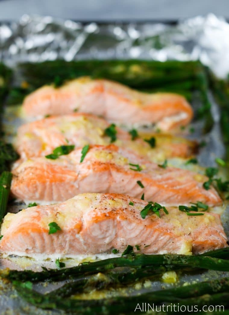 sheet pan salmon up close shot