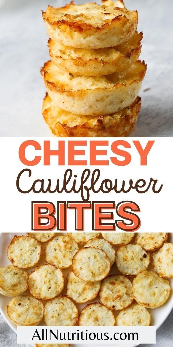 cheesy cauliflower bites pin