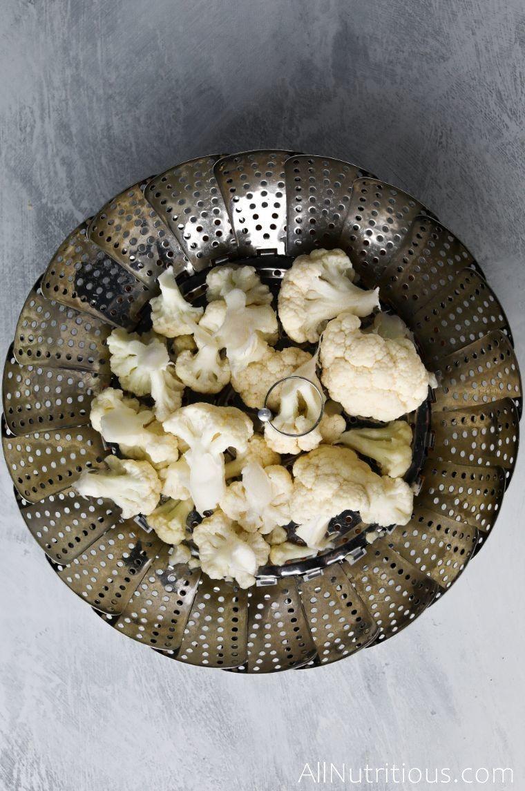 cauliflower in steaming basket