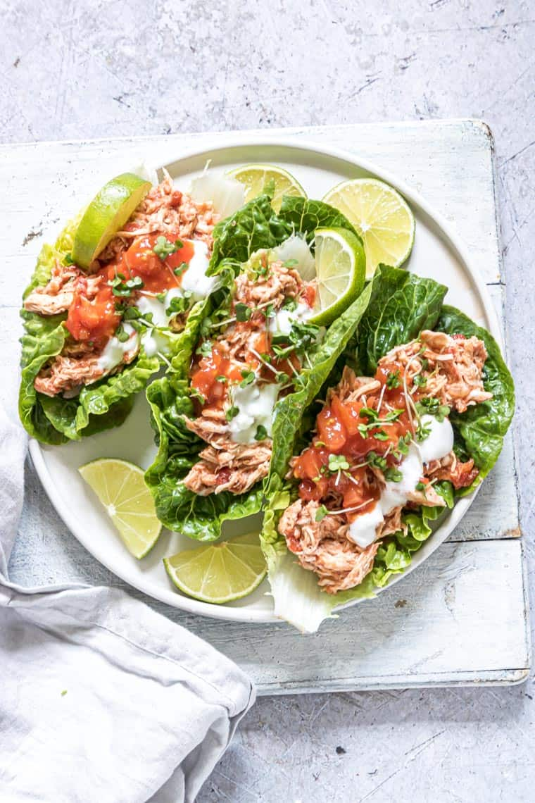 Instant Pot Salsa Chicken Lettuce Wraps