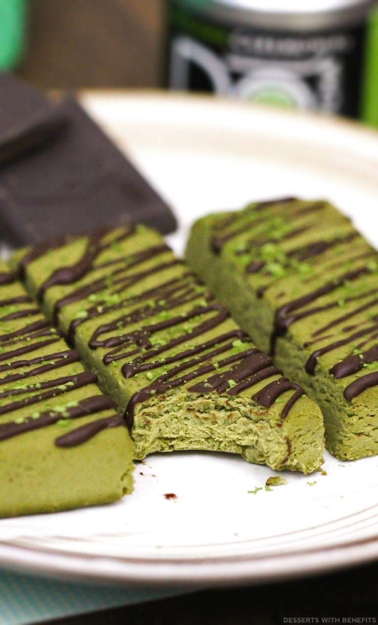 Matcha Green Tea Fudge Protein Bars