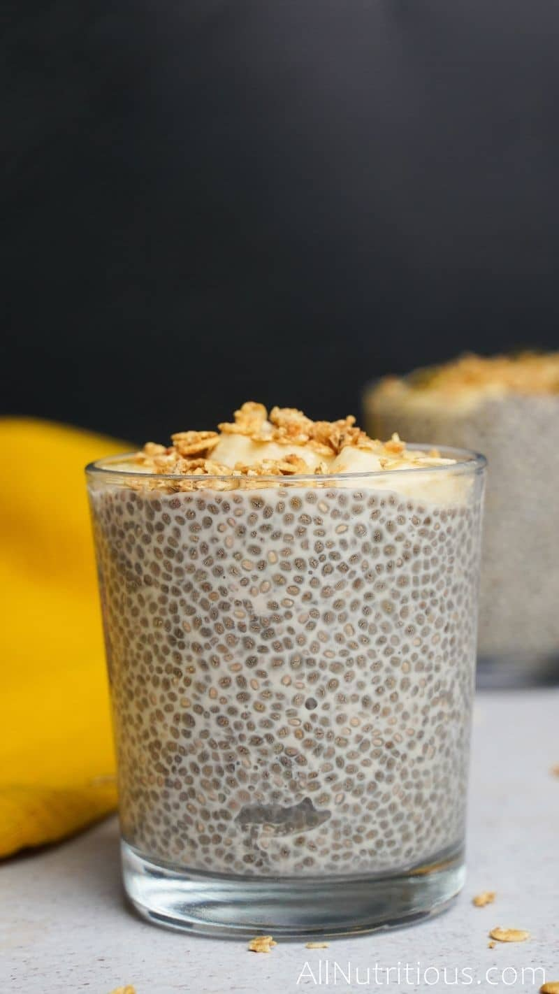 side view of chia pudding cup