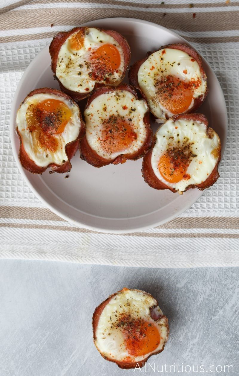 cooked egg cups on plate